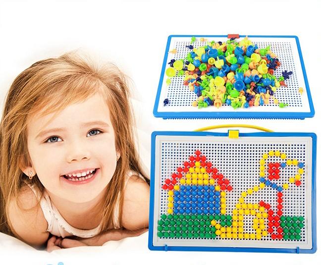 Bộ đồ chơi ghép hạt nhựa hình nấm 296 hạt