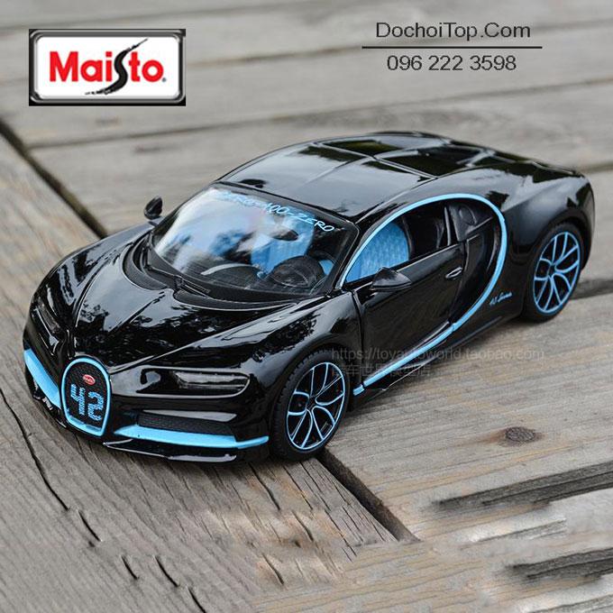 Xe mô hình hợp kim siêu xe Bugatti Chiron Maisto tỉ lệ 1:24 màu đen xanh – Chất Liệu Hợp Kim Cao Cấp.