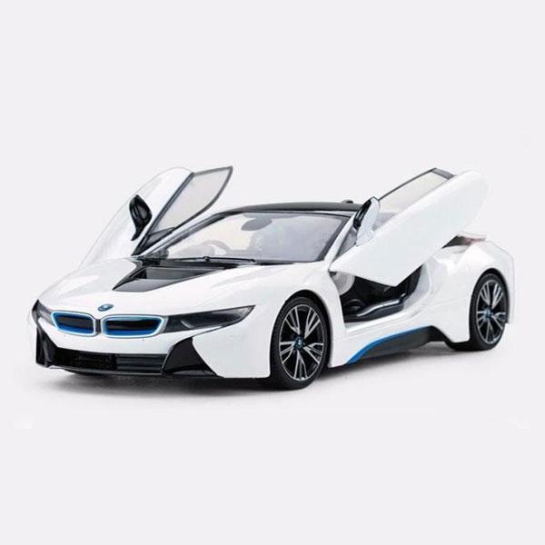 Mô hình xe ô tô siêu xe BMW I8 Hãng Rastar tỉ lệ 1:24 màu trắng – Chất Liệu Hợp Kim Cao Cấp