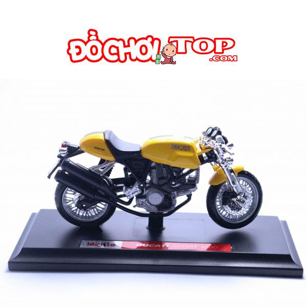 Mô hình Mô tô Ducati Sport 1000 tỉ lệ 1:18 hãng Maisto màu vàng hợp kim cao cấp